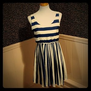 Blue and white striped dress.